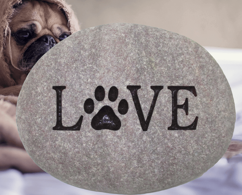 "Stone engraving of the word ""Love"" with a paw print where the O normally is."